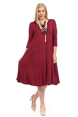 - Pastel by Vivienne Women's A-Line Trapeze Midi Dress Plus Size XXX-Large Burgundy