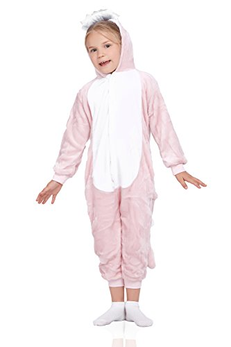 Kids Dinosaur Pajamas Animal Kigurumi Onesie Plush Onsie Dragon Cosplay Costume (Medium, Pink White)