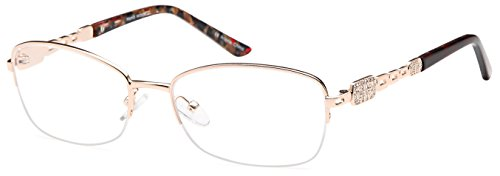 DALIX Womens Wealthy Semi-rimless Rx-able Eye Glasses 55-18-138 - Semi Eyeglasses Online Rimless