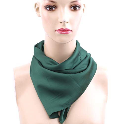 TraveT Silk Feeling Scarf Square Handkerchief Scarf Neck Scarf for Women Girls Ladies Favor,Solid Color Dark Green