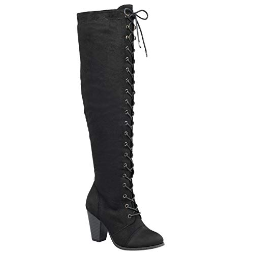 Forever Camila-47 Women's Chunky Heel Lace Up Over The Knee Brown High Riding Boots,Black - Suede High Fashion Knee Boots