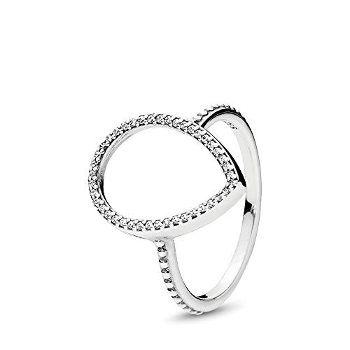 (PANDORA Teardrop Silhouette Ring, Sterling Silver, Clear Cubic Zirconia, Size 7)