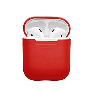 EloBeth for Podskinz Airpods Case Protective Silicone Cover, Airpods Cover and Skins Shock Proof Protective for Apple Airpods Charging Case (Red)