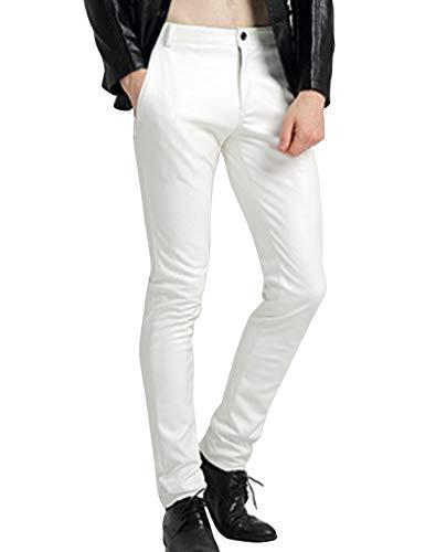 Yeokou Men's Skinny Straight Leg Tapered Pu Faux Leather Motorcycle Biker Pants (34, White) ()