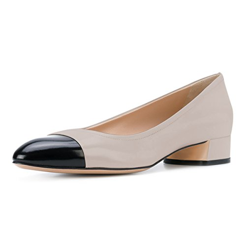 Office Slip Grey Low Heels On YDN Pointy Patchwork Flats Shoes Block Toe Pumps Women 6qZSY
