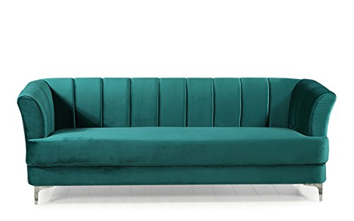 Elegant Classic Living Room Velvet Sofa - Colors Blue, Green, Grey, Red (Green)