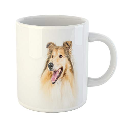 (Semtomn Funny Coffee Mug Isolated Collie Rough on White Background Animal Breed Brightly Brown 11 Oz Ceramic Coffee Mugs Tea Cup Best Gift Or Souvenir)