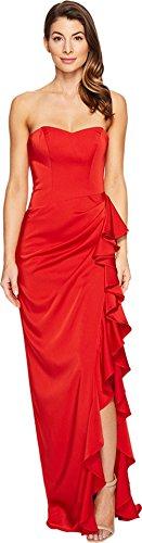Faviana Women's Faille Satin Strapless w/ Cascade 7950 Red Dress
