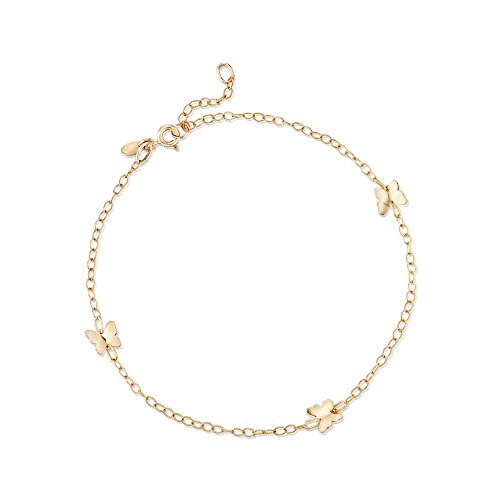 Ross-Simons Italian 14kt Yellow Gold Butterfly Station Anklet ()