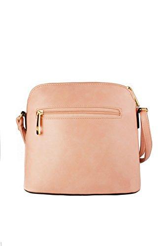 Handbag Sleek REDFOX Crossbody Women's Zip Tassel Leather Trendy Snakeskin Mini Pink Faux Sling AqfA7v