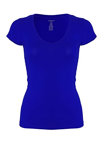 RT1010V Plain Basic V Neck Short Sleeve Cotton T-Shirts Royal S