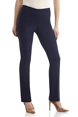 Rekucci Women's Ease in to Comfort Straight Leg Pant with Tummy Control (14,Navy)