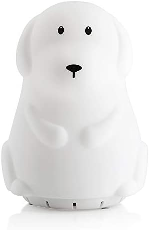 Hugmo Cute Puppy Soft Silicone Baby Night Light with Bluetooth Speaker - Portable and Rechargeable Infant or Toddler Color Changes with The Music Or C
