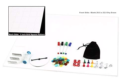 oard Kit Dry Erase 23x26 Foldable Gameboard Set Complete With Game Pieces Timer Blank Cards Markers Pawns Spinner and Dice - Perfect for Game Prototyping Development or DnD Game ()