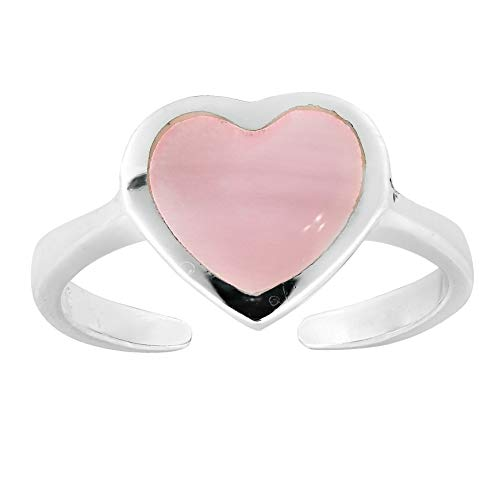 AeraVida Cute Heart Pink Mother of Pearl .925 Sterling Silver Toe Ring or Pinky Ring