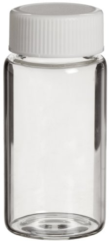 Wheaton 986540 Borosilicate Glass 20mL Liquid Scintillation Vial, with 22-400 White Polypropylene Foamed Polyethylene Lined Screw Cap Attached (Case of 500) ()