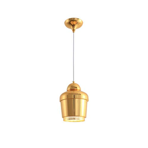 Pinjeer Single Head Pure Color Wrought Iron E27 Chandelier Nordic Modern Simple Aisle Window Bar Cafe Restaurant Pendant Light Luxury Fashion Living Room Bedroom Bedside Ceiling Lamps (Color : Gold) ()