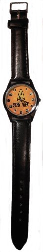 STAR TREK Original Series COMMAND LOGO Genuine Black Leather Band WRIST WATCH