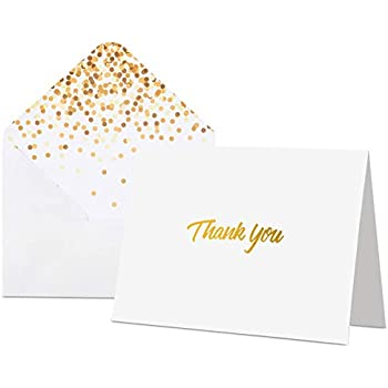 100 thank you cards with envelopes thank you notes white gold foil blank cards with envelopes for business wedding graduation babybridal shower