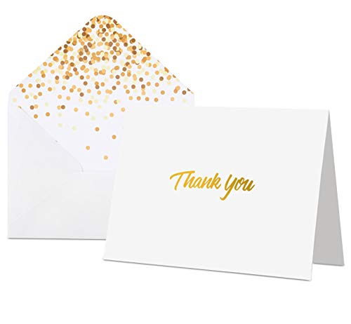 100 Thank You Cards with Envelopes - Thank You Notes, White & Gold Foil - Blank Cards with Envelopes - For Business, Wedding, Graduation, Baby/Bridal Shower, Funeral, Professional Thank You -