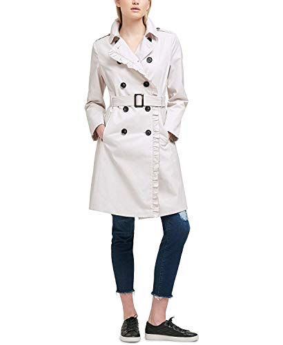 DKNY Women's Ruffle-Trim Belted Trench Coat Cement Medium