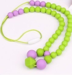 Silicone Baby or Toddler Purple Green Teething Necklace for Nursing Mom - Perfect for Sensory and Autism. Baltic Amber will stop the pain, this will keep them busy! Drooling babies will love gnawing on this jewelry that moms wear. Food Grade. Perfect for fine motor skills, sensory, autism. by Baltic Essentials   B00VU1Y0WW