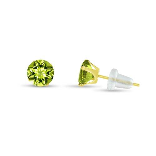 Round 4mm 10k Yellow Gold Genuine Peridot Stud Earrings, August Birthstone, (0.52 (4mm Round Genuine Birthstone Earrings)
