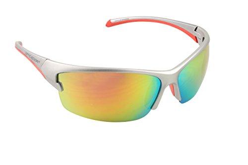 Optic Edge Breakaway Semi-Rimless Sunglasses, Silver Frame, Fire Orange Mirror - Sunglasses Breakaway