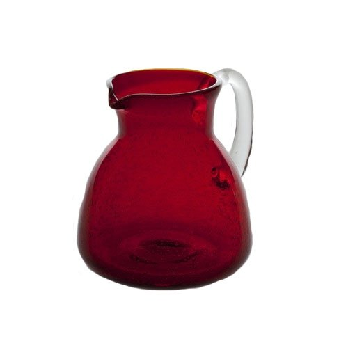 Abigails Ruby Red Glass Pitcher with Bubbles
