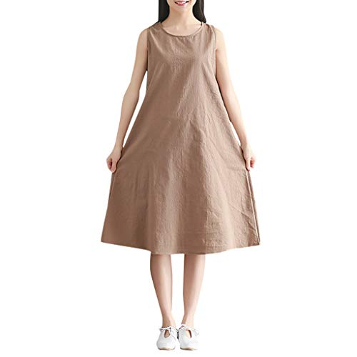 KESEELY Women Cotton Linen Dress - Casual Round Neck Sleeveless Loose Solid Color Dress Khaki