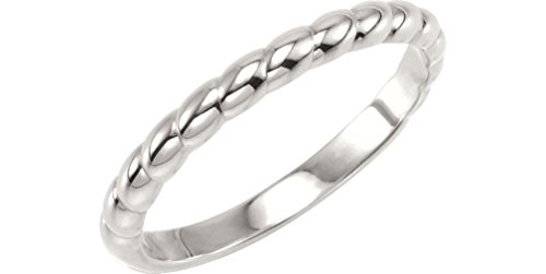 Rope Trimmed Stackable 2.5mm Sterling Silver Ring, Size 6.25 by The Men's Jewelry Store (for HER)