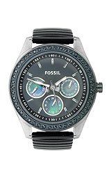 Fossil-Womens-ES2954-Black-Rubber-Strap-Steel-Case-Black-Crystallized-Bezel-Black-Dial-Watch