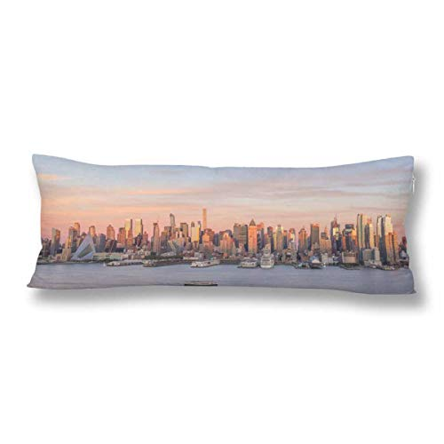 InterestPrint New York City Manhattan Midtown Skyline Dusk USA Body Pillow Covers Case Protector Rectangle with Zipper 21x60 Twin Sides for Sofa Decorative]()