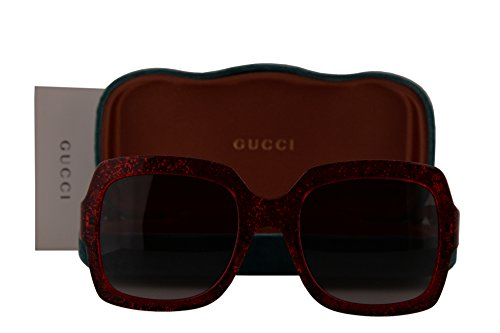 Gucci GG0036S Sunglasses Red Crystal w/Gray Gradient Lens 005 GG 0036S (Gucci Crystal Sunglasses)