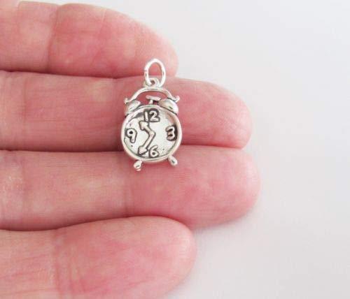 (Sterling Silver Alarm Clock Charm - Jewelry Accessories Key Chain Bracelet Necklace Pendants)