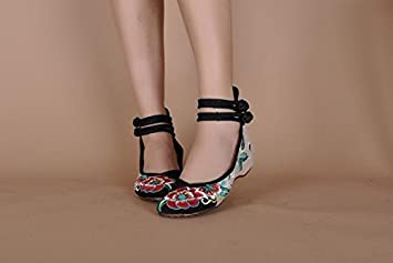 GuiXinWeiHeng xiuhuaxie (new)-Gestickte Schuhe, Sehnensohle, ethnischer Stil, weibliche Tuchschuhe, Mode, bequem, Tanzschuhe, red, 40
