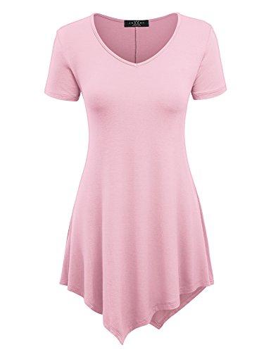 Made By Johnny MBJ WT638 Womens V Neck Asymmetrical Tunic Top XL ()
