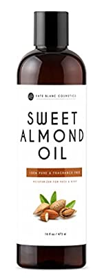 Sweet Almond Oil 16oz by Kate Blanc. 100% Pure, Cold Pressed, Hexane Free. Ideal for Face, Skin, Hair. Great as Massage Oil, Aromatherapy, and Carrier Oil. Smoother Skin, Softer Hair. 1-Year Guarantee