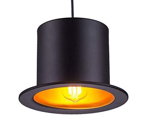 JKLcom Pendant Lighting Metal Pendant Light Black Aluminum Metal Painting Top Hat Pendant Lamp 1 Light Ceiling Fixture for Restaurant Living Room Bedroom Bar Cafe, Square Hat Shape