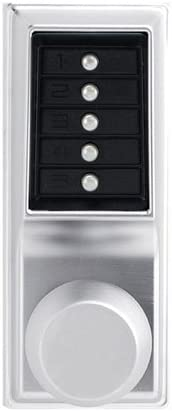 No Key Override 70mm Backset Floating Face Plate Kaba Simplex 1000 Series Combination Entry Cylindrical Mechanical Pushbutton Lock with Knob Cylindrical 13mm Throw Latch Satin Chrome Finish Kaba Ilco 101126D