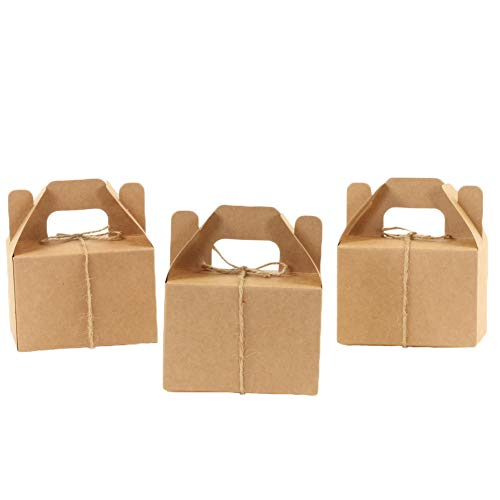 Andaz Press Kraft Gable Favor Boxes with Handles, Twine String Included, 4 x 2.5 x 4.75-inch, Bulk 36-Pack Count, Food Safe for Wedding Favors, Birthday, Baby Shower, Grad