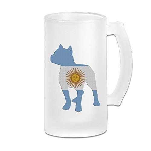 - Patriotic Pitbull Argentina Flag Frosted Glass Stein Beer Mug - Personalized Custom Pub Mug - 16 Oz Beverage Mug - Gift For Your Favorite Beer Drinker