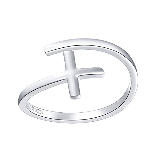 Simple Cross Ring Sterling Silver Adjustable Cross Wrap Open Ring for Women Girls (Sterling Silver Cross Ring)
