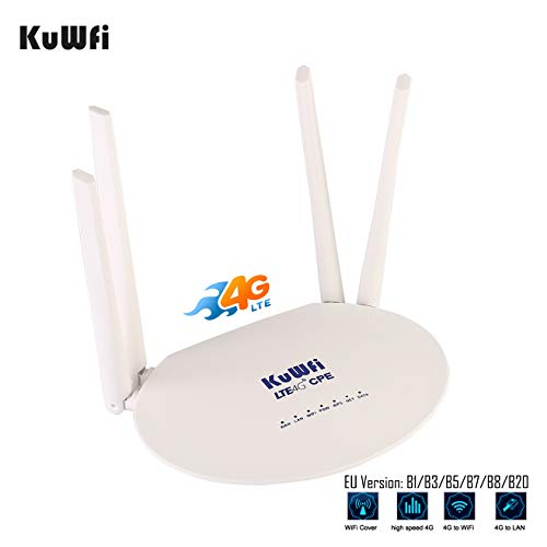 KuWFi LTE Router 300Mbps Unlocked 4G Wireless WiFi Internet Router with SIM Card Slot 4pcs Non-Detachable Antennas…