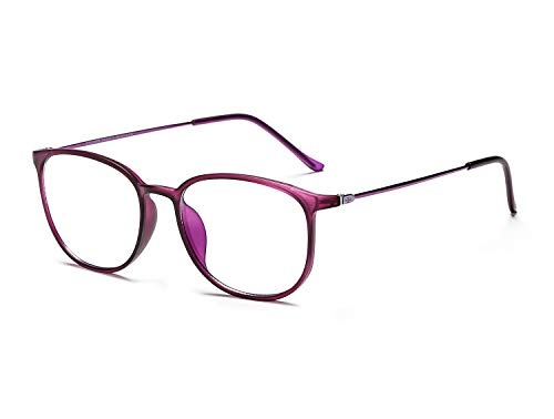 - Decanit Blue Light Blocking Glasses,Lightweight Frame Computer Game Glasses(Men/Women)[Anti Eyestrain, Reduce Headache & Better Sleep],Matt Purple