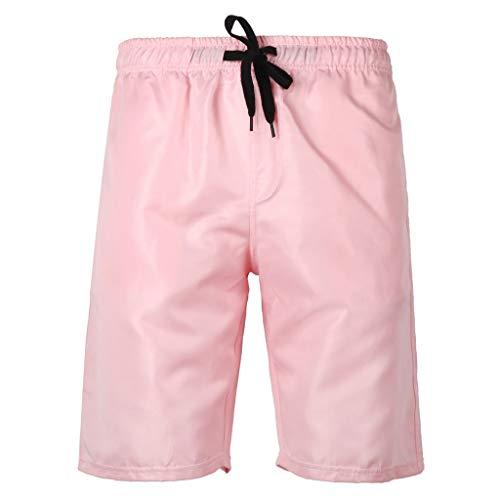 PENGY Beach Short Pants Plus Size Men's Summer Swim Trunk Solid Color Casual Athletic Large Size Pink
