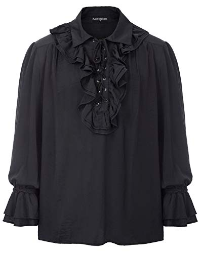 (Black Gothic Steampunk Renaissance Long Sleeves Shirt Pirate Blouse Top for Men Black XL)