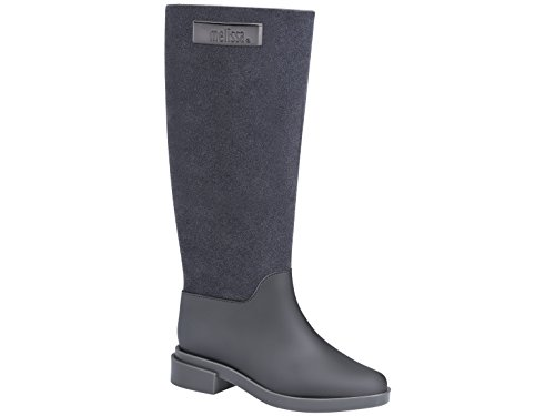 Melissa Shoes Womens Long Boot Flocked Grey Flocked hnRry1U