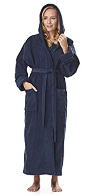 386c9f1ec0 Arus Women s Organic Cotton Hooded Full Length Turkish Bathrobe