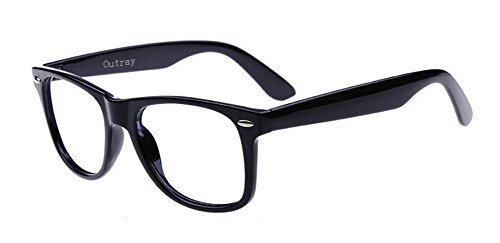 Outray Unisex Retro 80' Clear Lens Glasses 2231C1 Black]()
